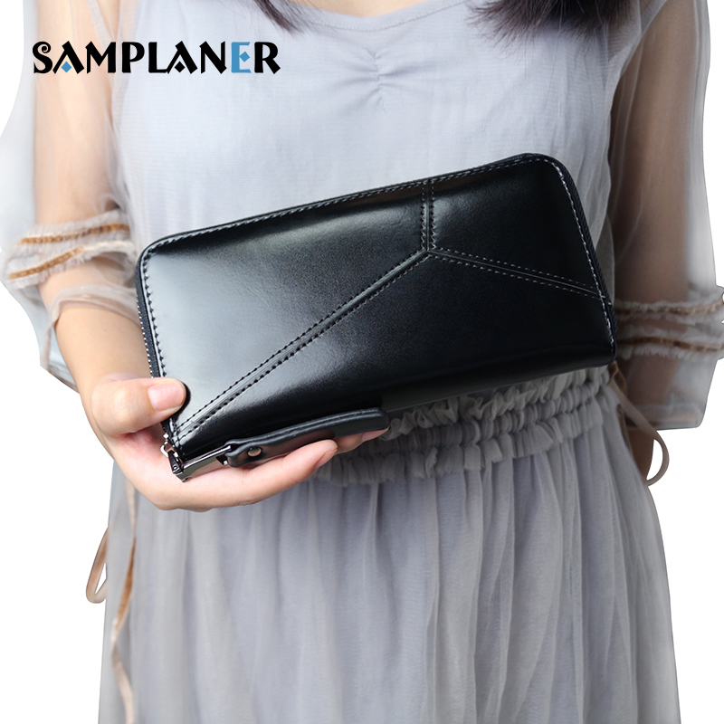 Samplaner Brand Women's Wallet Female Long Zipper Women Purse Large Capacity Coin Wallets Leather Purse Fashion Phone Clutch Bag cardamom cowhide genuine leather handbag female solid double zipper wallet women large capacity coin small bag purse phone bag