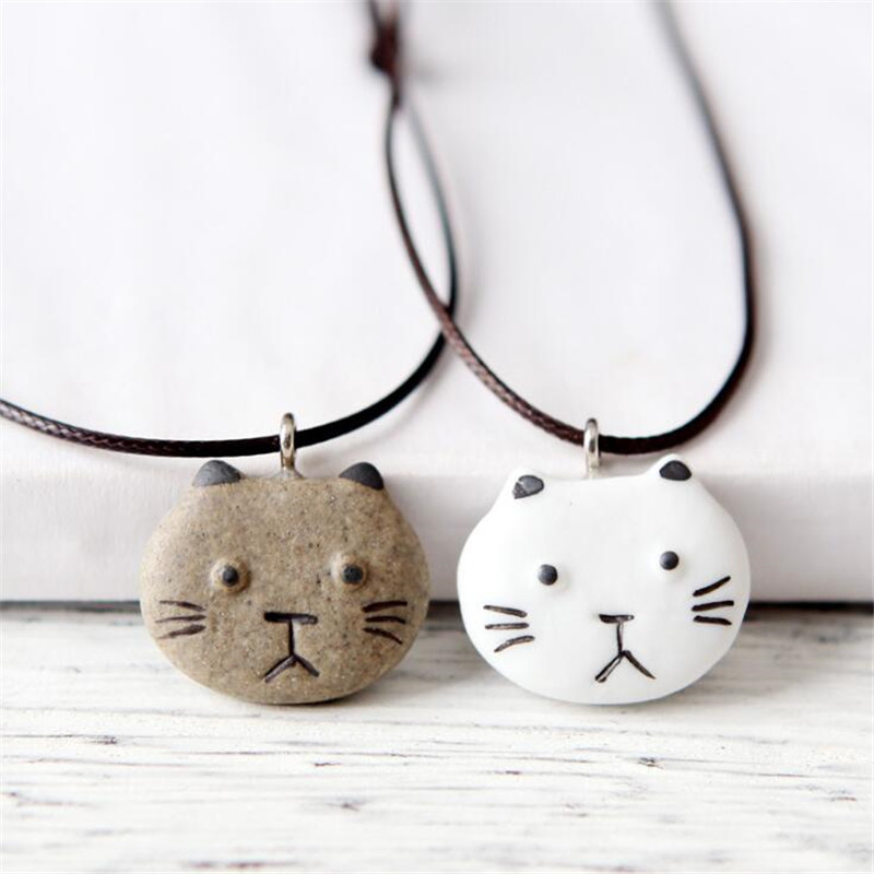 Fashion Design Love Cat Pendant Necklace For Women Simple Rope Chain Kitty Charm Necklaces Couple Jewelry 2017 Hot Sale