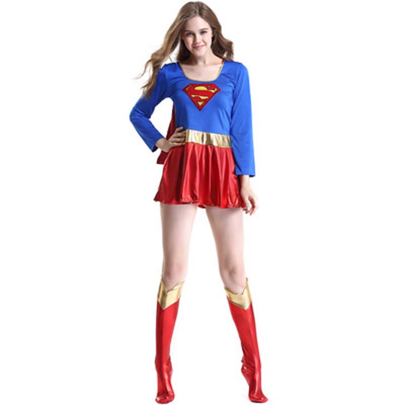 Adult Supergirl Cosplay Costume Super Woman Superhero <font><b>Sexy</b></font> Fancy Boots Dress Halloween Superman Party <font><b>Cos</b></font> Costumes Dropshipping image
