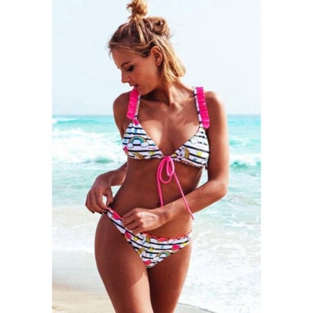 41f6370ca68ce Women Push-up Padded Bra Bandage Bikini Set Swimsuit Ruffles Lace-up Print Triangle  Swimwear Bikinis Set