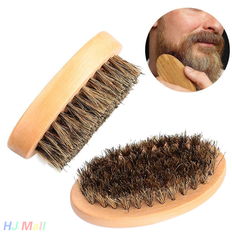New Arrival Mens Boar Hair Bristle Hard Round Wood Handle Beard Mustache Brush Set Maquiagem