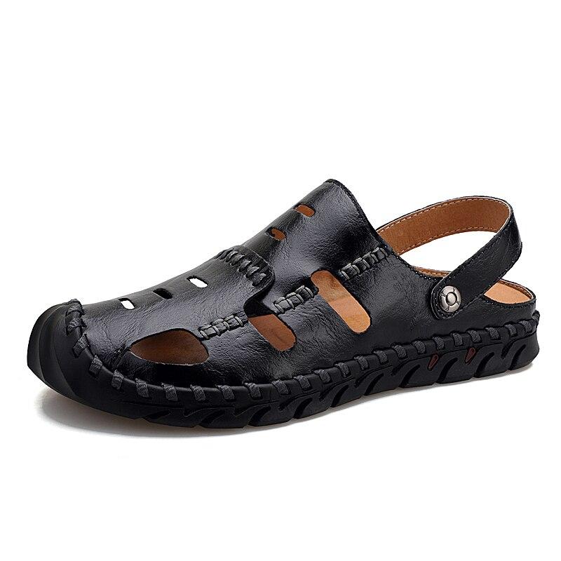 Image 3 - メンズグラディエーターサンダル男性の靴のサンダル夏の本革 Crocse 靴 Sandalias Hombre Sandles フリップスリッパビーチサンダル    グループ上の 靴 からの メンズサンダル の中