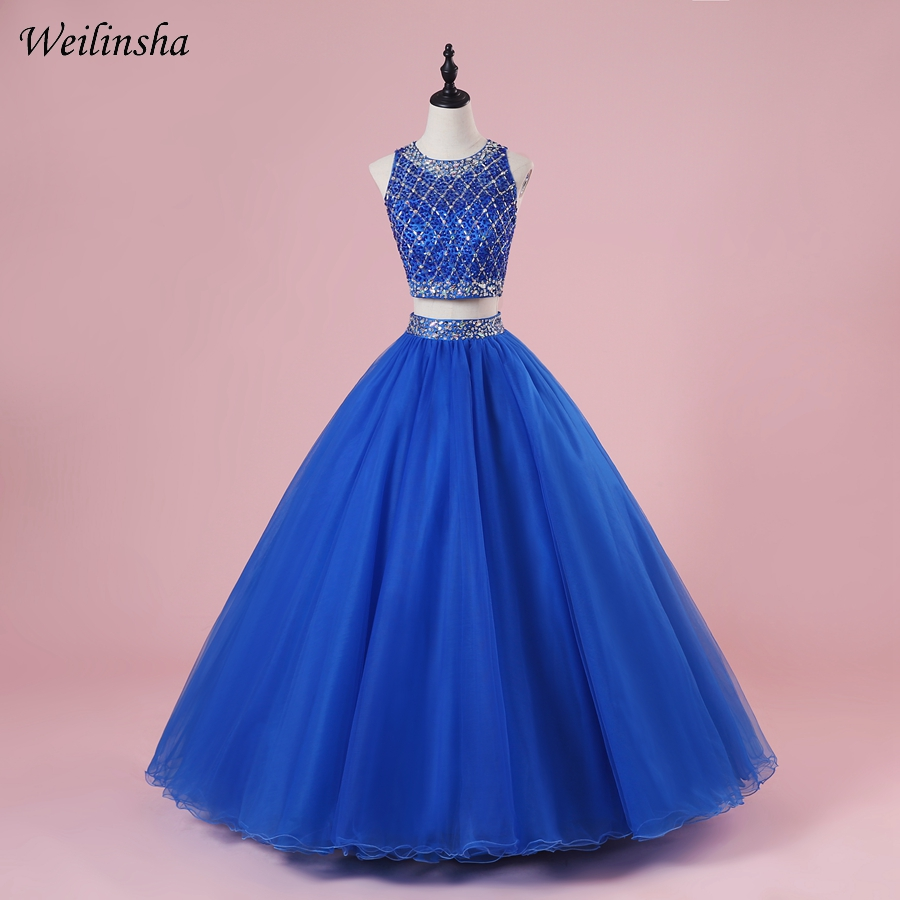 24aba91952d Weilinsha Royal Blue Two Piece Quinceanera Dresses Ball Gown Sexy Crop Top  Debutante Gown For 15