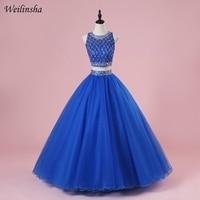 Weilinsha Королевский синий из двух частей Бальные платья бальное платье сексуальный топ дебютантка для 15 лет Пышное