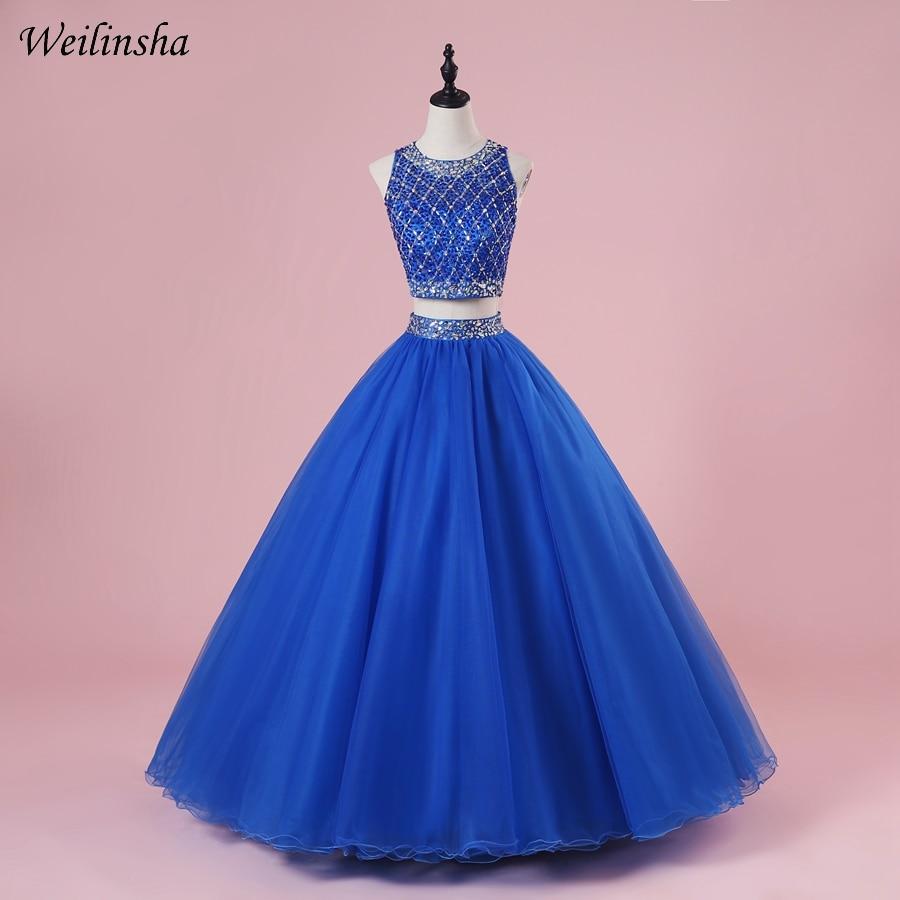 Weilinsha Royal Bleu Deux Pièces Quinceanera Robes robe de Bal Sexy Crop Top Débutante Robe Pour 15 Ans Pageant Robe