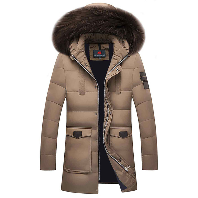 fe788cae260 Mens Winter Duck Down Coats 2016 Fur Collar Feather Parka For Men Thicken  Jaqueta Masculina Male Warm Jacket Outwear Green Parka-in Down Jackets from  ...