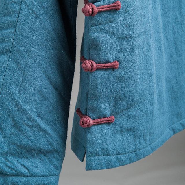 Johnature Women Autumn Jackets Stand Vintage Coats Cotton Linen Parkas 2018 Winter New Blue Button Warm Women Clothing Parkas