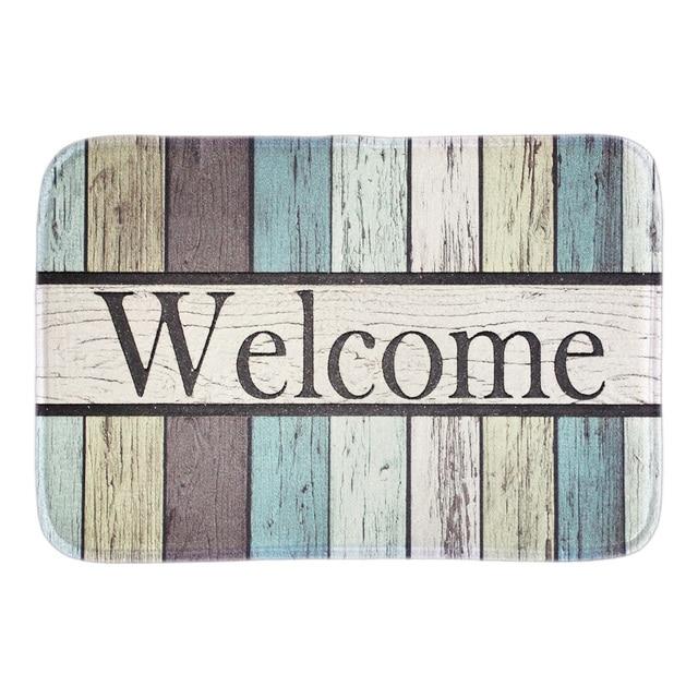 Welcome Funny Doormat Colorful Striped Indoor Floor Mats Home Decorative  Door Mat Short Plush Fabric For