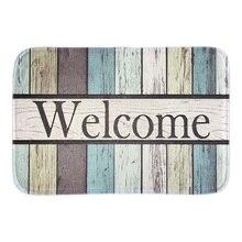 Welcome Funny Doormat Colorful Striped Outdoor Indoor Floor Mats Home Decorative Door Mat Short Plush Fabric For Bath Livingroom