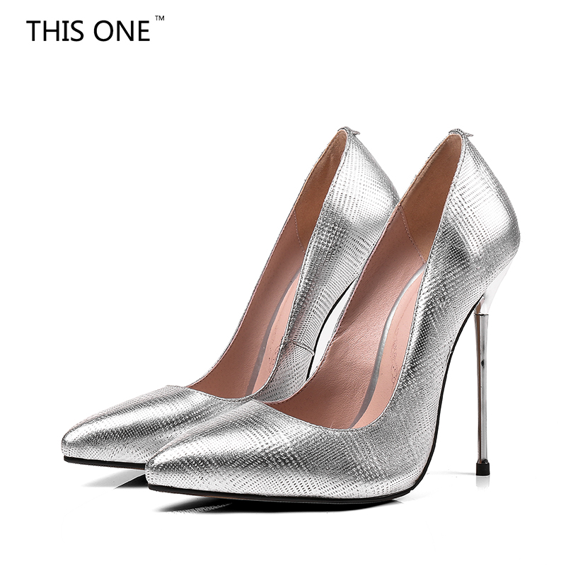 2018 women sexy high heels Silver pointed toe pumps office shoes party shoes fashion stiletto high heel pump Cow Leather 12.5cm new women s high heels pumps sexy bride party thick heel round toe genuine leather high heel shoes for office lady women t8802