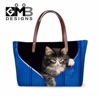 Discounted Hand Bags Personalized Animal Print Shoulder Handbags Cat Tote Bag for Girls Cute Large Messenger bag One Side bags