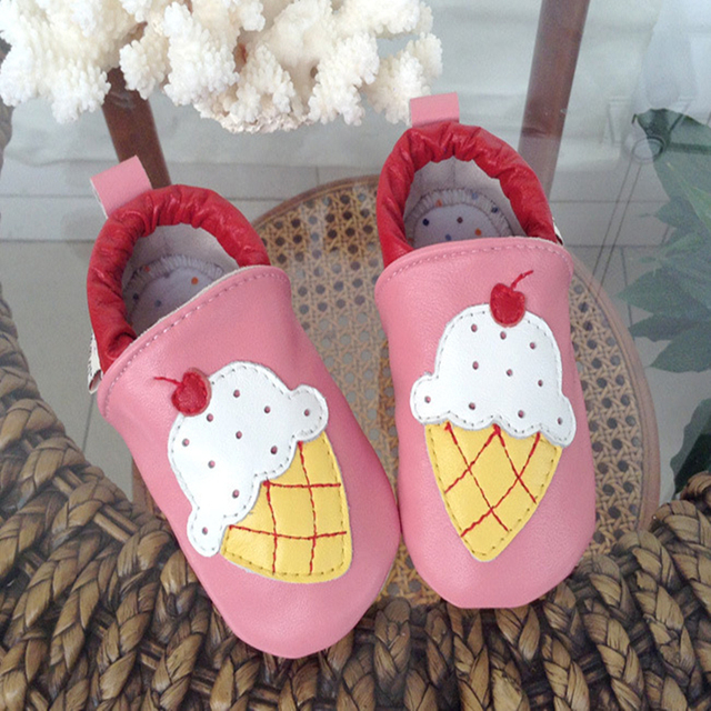 Toddler Shoes Genuine Leather Hot Sale Princess Cartoon Mixed Color Printing Low Top Lovely Anti-slip Breathable First Walker