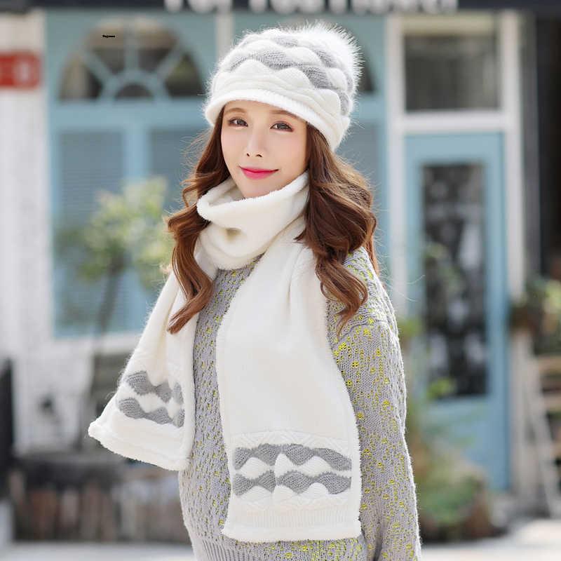 Kagenmo冬キャップとスカーフtwinsets女性冬暖かいニット帽子ウサギの編みスカーフ屋外温熱twinset