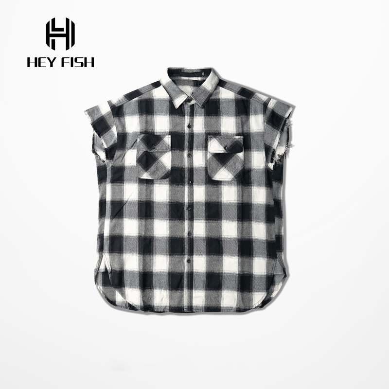 HEY FISH Europe Street Fashion Sleeveless Plaid Destroy Shirts For Mens Hip Hop Casual Arc Cut