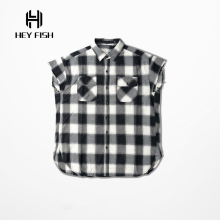 HEY FISH Europe Street Fashion Sleeveless Plaid Destroy Shirts For Mens Hip Hop Casual Arc Cut Tartan Shirt