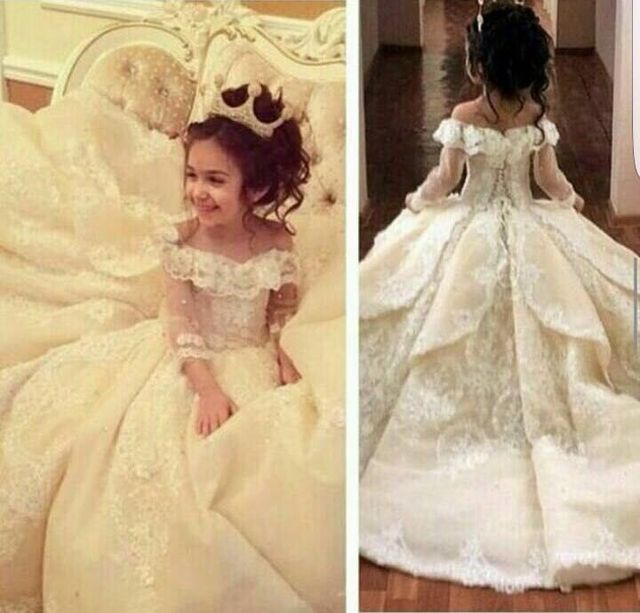 Ball Gown Long Appliques Organza Lace Flower girls' Dresses for Wedding 2016