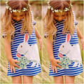 Cartoon Rabbit Kids Baby Girls Dress White And Blue Striped Summer One pieces Cute O Neck Mini Dress 2-7Y