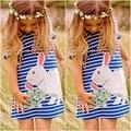 Coelho dos desenhos animados Do Bebê Dos Miúdos Meninas Vestido Branco E Azul Listrado Verão One pieces Bonito O Pescoço Mini Vestido 2-7A