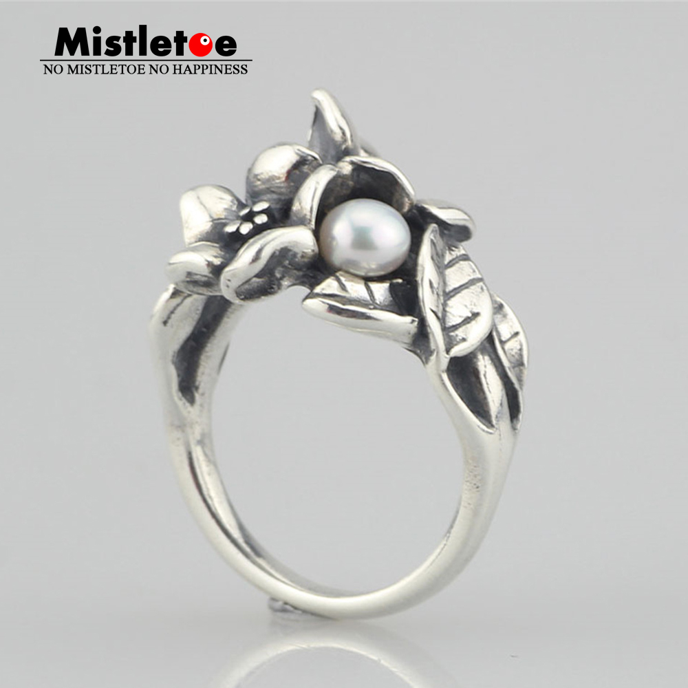Genuine 925 Sterling Silver Hawthorn With Pearl Troll Ring Jewelry Flowers Ring daimi 925 silver ring brand design genuine pearl ring 6 7mm