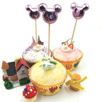 5Pcs/lot Purple Mickey Mouse Cupcake Toppers Baby Shower Birthday Party Decorations Children's Party Supplies Cake Toppers image