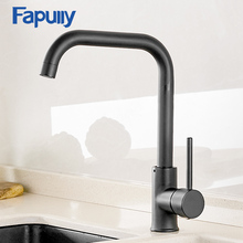 Fapully Kitchen Faucet 360 Rotate Black Mixer for Rubber Design Hot and Cold Deck Mounted Crane Sinks AEF0012