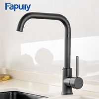 Fapully Kitchen Faucet 360 Rotate Black Mixer Faucet for Kitchen Rubber Design Hot and Cold Deck Mounted Crane for Sinks AEF0012