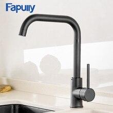 Fapully robinet mitigeur de cuisine noir rotatif à 360 degrés, Design caoutchouc chaud et froid, grue montée sur le pont pour éviers AEF0012