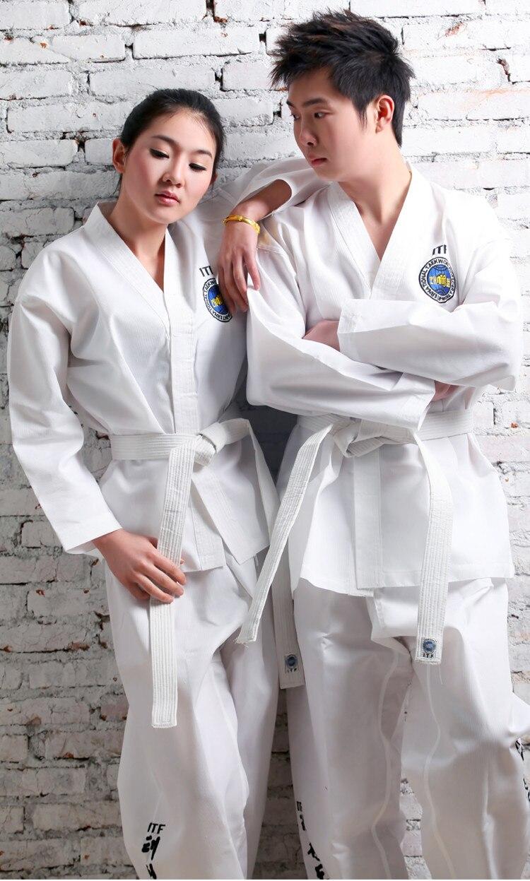 ФОТО new white adult children taekwondo suits Taekwondo ITF Taekwondo clothing cotton polyester clothes whole embroidery