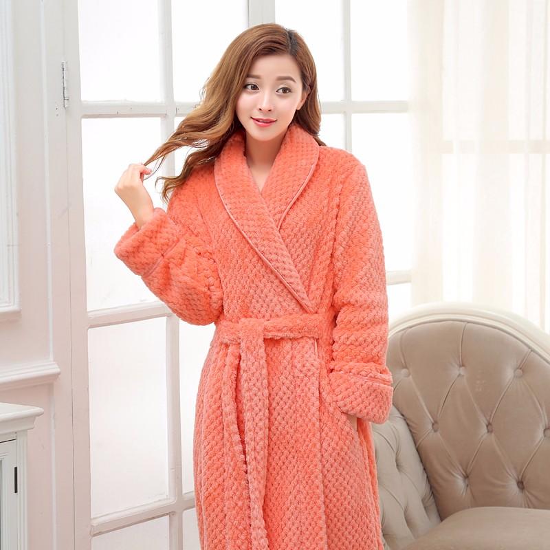 c496329edb Hot Selling Women Long Thick Warm Winter Super Bath Robe Lovers ...
