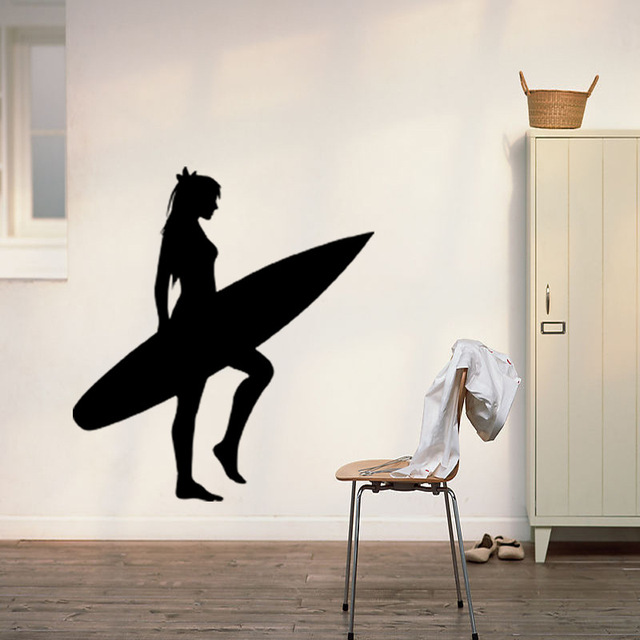 574d49f0d 2024 oceano esporte surf vinil adesivos de parede prancha meninas surf  Mural Vinyl Decal crianças quarto