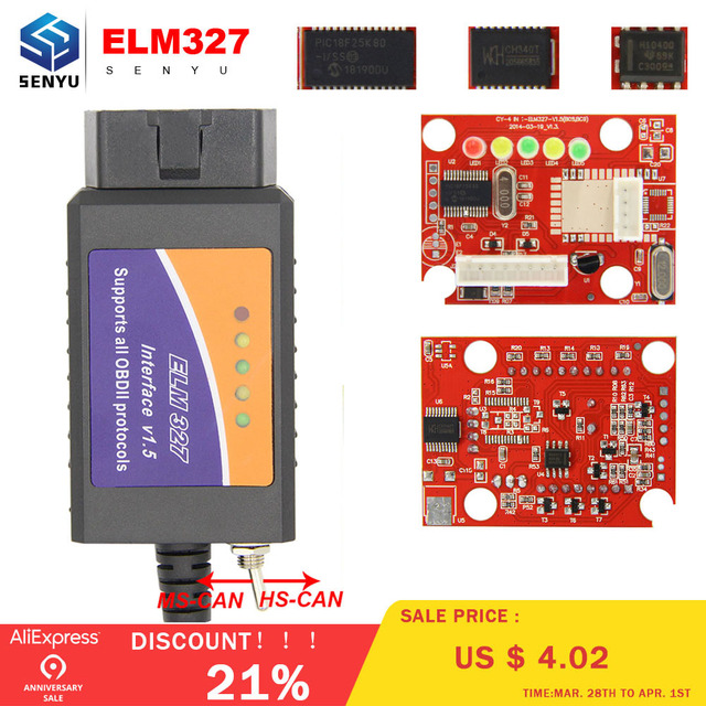 US $8 72 20% OFF|ELM 327 V1 5 PIC18F25K80 For FORScan ELM327 USB For  Windows HS CAN/MS CAN Switch For Ford CH340 OBD2 Car diagnostic tool  Scanner-in