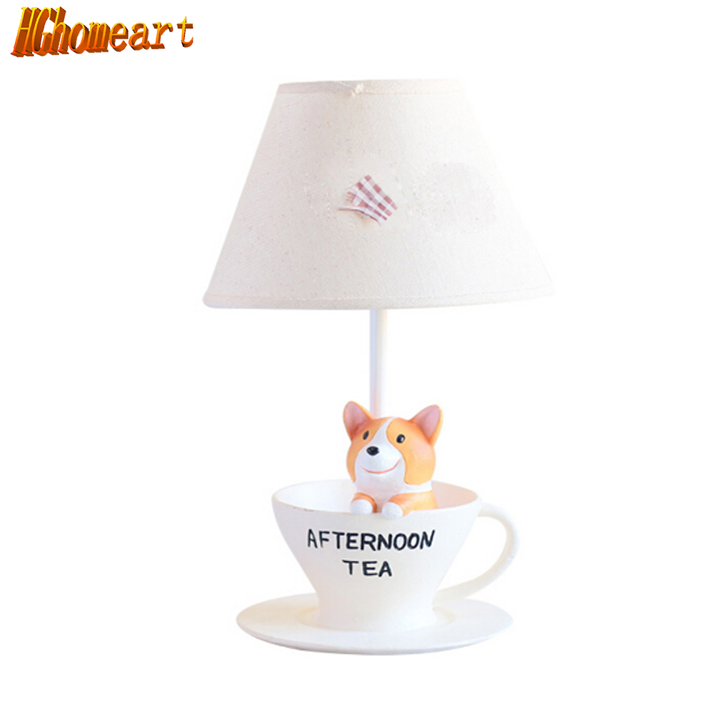 Hghomeart Creative Puppy Children Room Lamps E14 AC 110V-220V High Quality Kids Wooden Desk Lamp Switch Button Table Lamps 2273