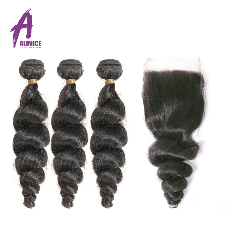 ALIMICE Hair Malaysian Hair Weave Bundles With Closure Non Remy Human Hair 3Bundles With Closure Loose