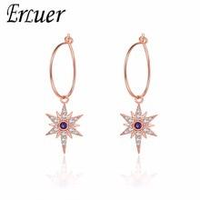 ERLUER summer Dangle Earrings for women Wedding blue crystal hexagon j