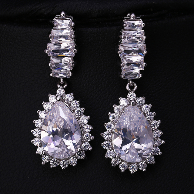 J Sparkling Cubic Zirconia Round Dangle Drop High Quality Cz Earrings Silver Color Women Wedding