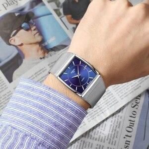 Image 5 - NIBOSI Luxury Brand Watches Men Stainless Steel Mesh Band Quartz Sport Watch Chronograph Mens Wrist Watches Clock Square Watch