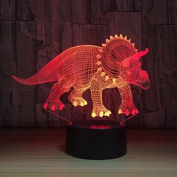Травоядные динозавры 3D Светодиодная лампа ночные светильники Новинка Иллюзия Ночная лампа LED с USB кабелем подарок на день рождения Прямая п...