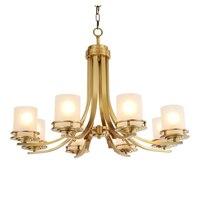 Cobre Puro europeu Suspendsion Abajur de Vidro da lâmpada Sala de estar Iluminação Lustre Lustres salão Sala de jantar apartamento apartamento