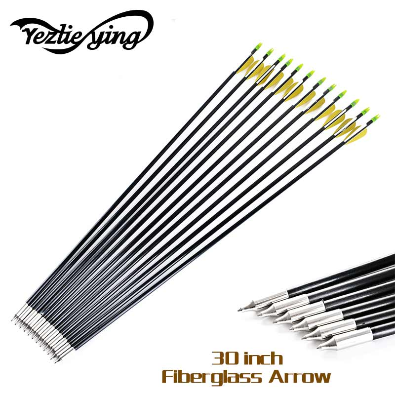6/12/24pcs 30 inch Fiberglass Arrow 6mm Shaft Target Arrows For Recurve Bow arrows Hunting or Shooting yellow /white Arrows