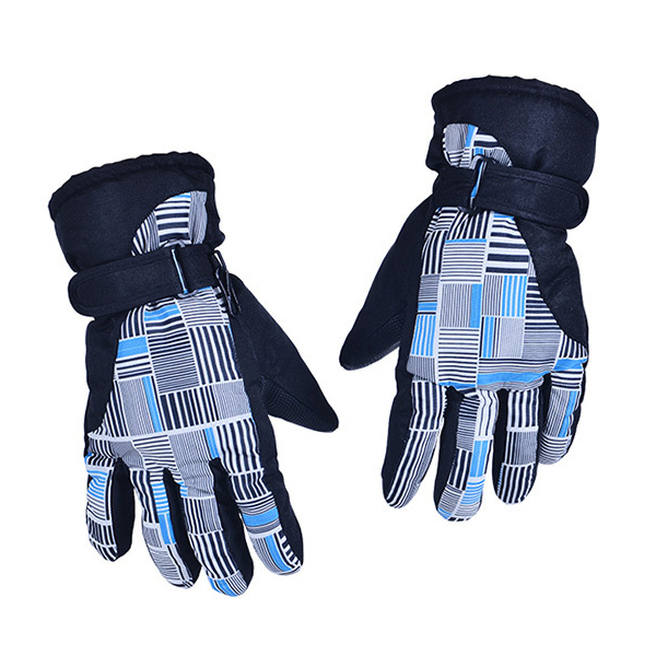 Man Woman Winter Outdoor Exercise Waterproof Thicken Riding Skiing Gloves(Blue and white)
