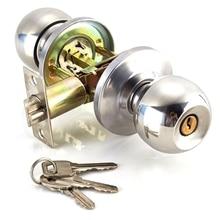 Round Door Handle Door Knobs Lock Stainless Steel Entrance Passage Door Lock with Key for Bedroom Living Room Bathroom
