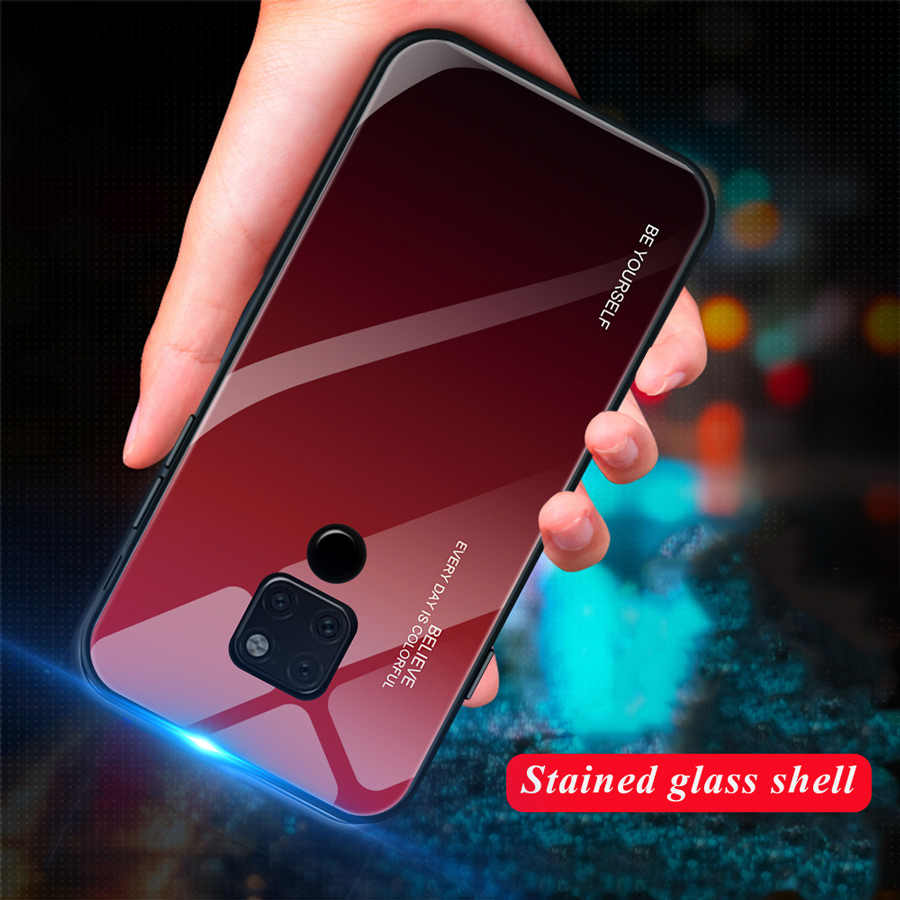IQD Glass Phone Case For Huawei P20 Mate 20 Lite 10 pro Honor 8X max Glory 9 10 Tempered Glass Back Cover TPU Bumper Housing