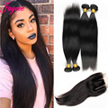 1B Brazilian Straight Virgin Hair with Closure 4 Bundles With Closure Straight Weave With Closure Brazilian Bundles With Closure
