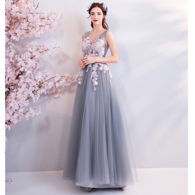 Elegant V Neck Prom Dress New Gray Pink Sleeveless Appliques Foral Formal Wedding Party Dresses Beaded Gowns
