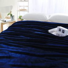 Dark blue fleece blanket on the bed,multi-size flannel blanket for sofa,solid color soft throw blanket for home decor bedding(China)