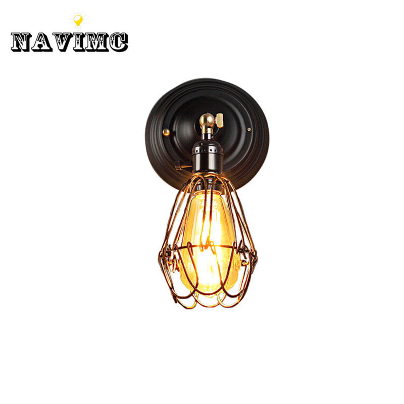 Wire Cage Wall Light Sconce Edison Industrial Wall Lamp 110V~240V Art Deco for Bathroom/Living Room/Study/Restaurant/Cafe Shop