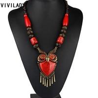 Fashion Owl Pendant Long Necklace Women Newest Vintage Statement Wood Turquoise Beads Stone Animal Bohemia Jewelry