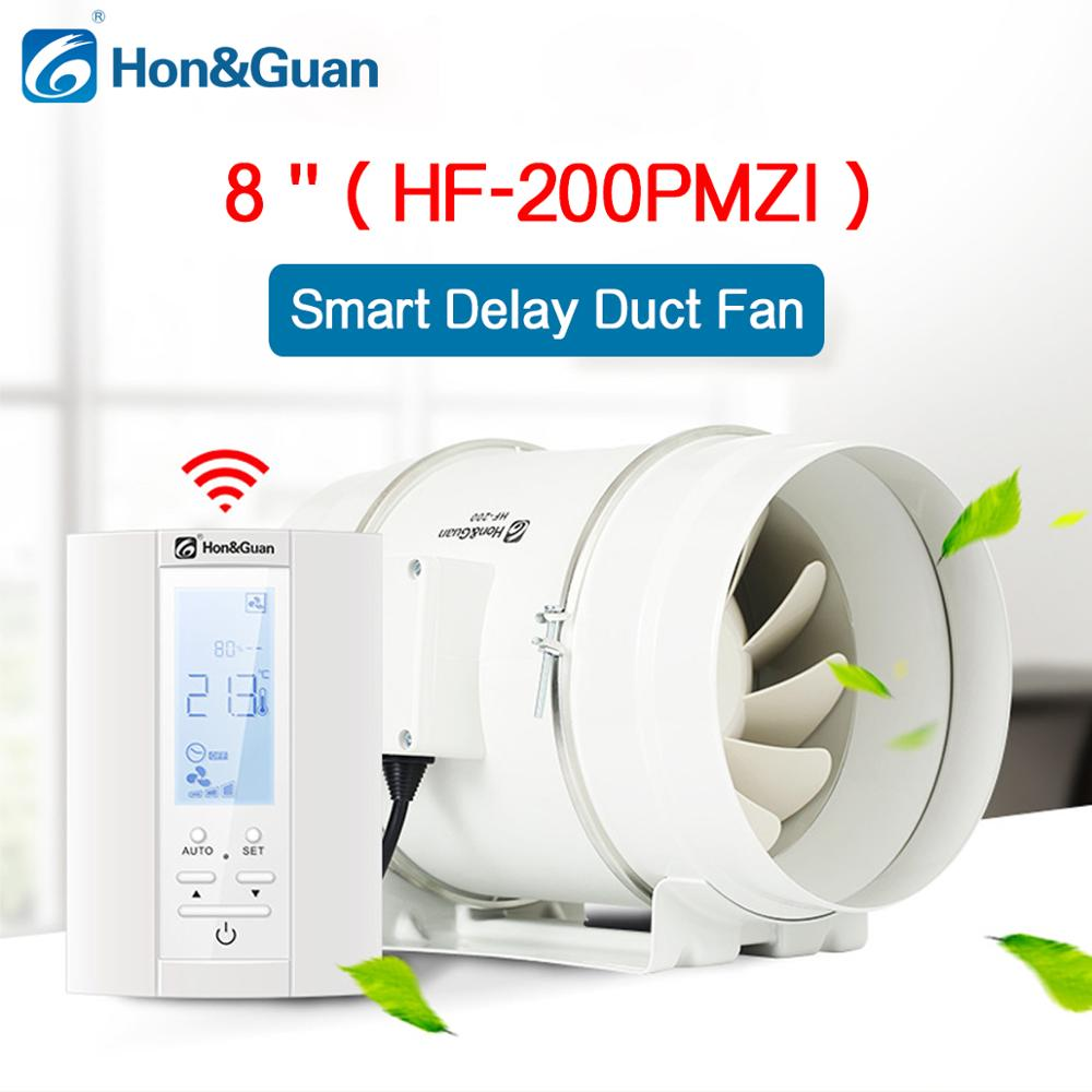 220V 8 Extractor Smart Inline Duct Fan Humidistat and Timer Bathroom Ventilation Fan with Smart Sensor
