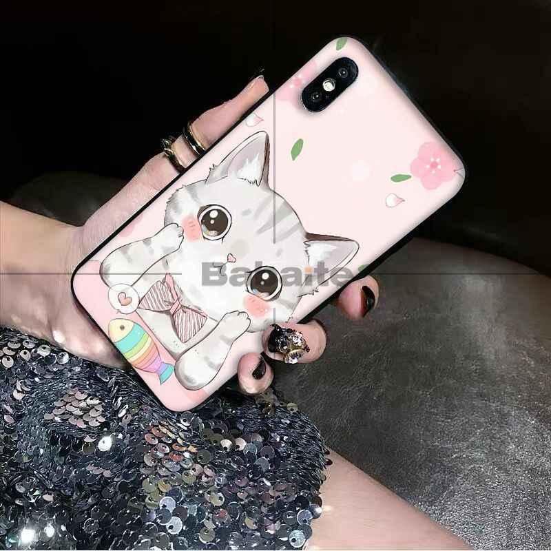 Babaite Gato Bonito Kitty Espaço TPU Macio Caso de Telefone Silicone Preto para Apple iPhone 8 7 6 6 S Plus X XS MAX 5 5S SE XR Casos Móveis