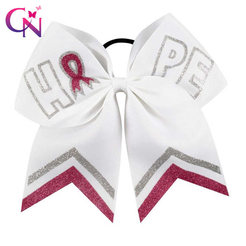 "CN 7"" Glitter Breast Cancer Cheer Bows With Elastic Hair bands For Girls Kids Handmade Print Letter Ribbon Bow Hair Accessories"